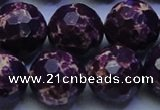 CDE2539 15.5 inches 22mm faceted round dyed sea sediment jasper beads