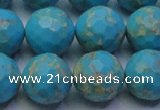 CDE2543 15.5 inches 16mm faceted round dyed sea sediment jasper beads