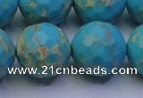CDE2546 15.5 inches 22mm faceted round dyed sea sediment jasper beads