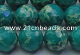 CDE2565 15.5 inches 16mm faceted round dyed sea sediment jasper beads