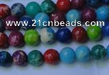 CDE2688 15.5 inches 4mm round mixed color sea sediment jasper beads