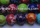 CDE2693 15.5 inches 14mm round mixed color sea sediment jasper beads