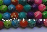 CDE2695 6mm faceted round mixed color sea sediment jasper beads