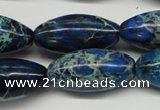 CDE293 15.5 inches 15*30mm rice dyed sea sediment jasper beads