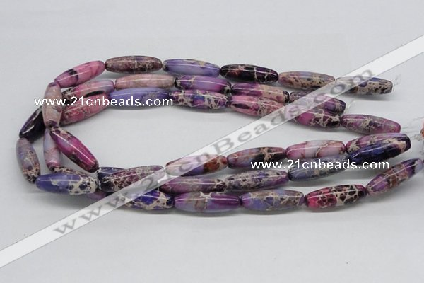 CDE33 15.5 inches 10*30mm rice dyed sea sediment jasper beads