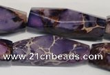 CDE386 15.5 inches 12*40mm faceted rice dyed sea sediment jasper beads