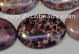 CDE422 15.5 inches 25*35mm oval dyed sea sediment jasper beads