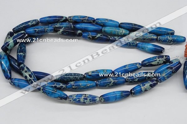 CDE48 15.5 inches 10*30mm rice dyed sea sediment jasper beads