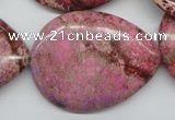 CDE480 15.5 inches 30*40mm flat teardrop dyed sea sediment jasper beads