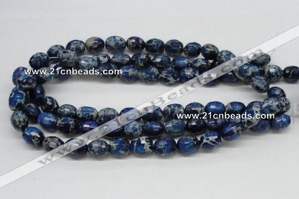 CDE49 15.5 inches 12*15mm faceted egg-shaped dyed sea sediment jasper beads