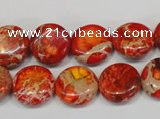 CDE518 15.5 inches 14mm flat round dyed sea sediment jasper beads