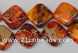 CDE545 15.5 inches 14*14mm diamond dyed sea sediment jasper beads