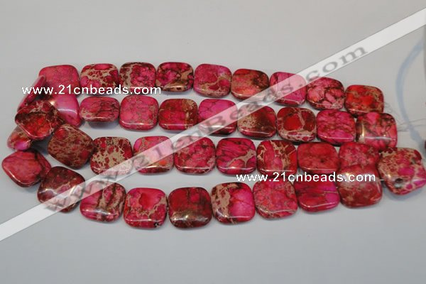 CDE625 15.5 inches 20*20mm square dyed sea sediment jasper beads