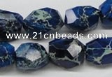 CDE64 15.5 inches 15*20mm faceted nuggets dyed sea sediment jasper beads
