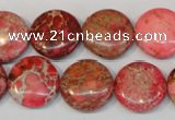 CDE655 15.5 inches 16mm flat round dyed sea sediment jasper beads