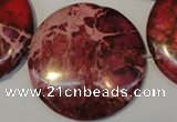 CDE660 15.5 inches 35mm flat round dyed sea sediment jasper beads