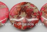 CDE661 15.5 inches 40mm flat round dyed sea sediment jasper beads