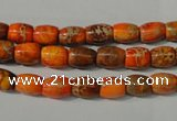 CDE740 15.5 inches 5*8mm drum dyed sea sediment jasper beads