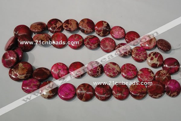 CDE787 15.5 inches 20mm flat round dyed sea sediment jasper beads