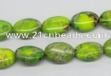 CDE92 15.5 inches 10*14mm oval dyed sea sediment jasper beads