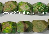 CDE932 15.5 inches 13*17mm faceted nuggets dyed sea sediment jasper beads
