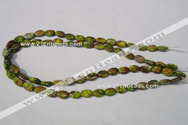 CDE939 15.5 inches 8*12mm oval dyed sea sediment jasper beads