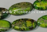 CDE941 15.5 inches 15*30mm oval dyed sea sediment jasper beads