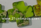 CDE953 15.5 inches 35*35mm cross dyed sea sediment jasper beads