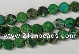 CDE970 15.5 inches 7mm flat round dyed sea sediment jasper beads
