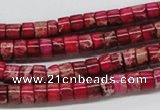 CDI11 16 inches 4*6mm cylinder dyed imperial jasper beads wholesale