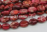 CDI12 16 inches 8*10mm oval dyed imperial jasper beads wholesale
