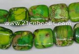 CDI121 15.5 inches 14*14mm square dyed imperial jasper beads