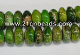 CDI135 15.5 inches 6*12mm rondelle dyed imperial jasper beads