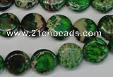 CDI170 15.5 inches 12mm flat round dyed imperial jasper beads