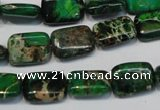 CDI199 15.5 inches 10*14mm rectangle dyed imperial jasper beads