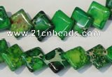 CDI204 15.5 inches 10*10mm diamond dyed imperial jasper beads
