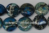 CDI232 15.5 inches 16mm flat round dyed imperial jasper beads