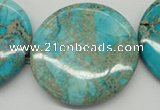 CDI353 15.5 inches 45mm flat round dyed imperial jasper beads