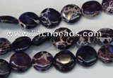 CDI397 15.5 inches 10mm flat round dyed imperial jasper beads