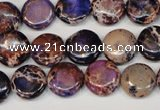 CDI406 15.5 inches 12mm flat round dyed imperial jasper beads