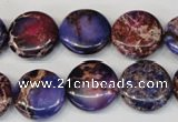 CDI408 15.5 inches 16mm flat round dyed imperial jasper beads