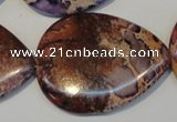 CDI461 15.5 inches 30*40mm flat teardrop dyed imperial jasper beads