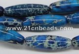 CDI48 16 inches 10*30mm rice dyed imperial jasper beads wholesale