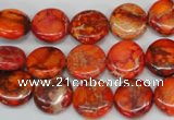 CDI517 15.5 inches 12mm flat round dyed imperial jasper beads