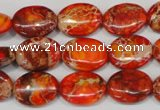 CDI531 15.5 inches 12*16mm oval dyed imperial jasper beads