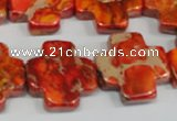 CDI563 15.5 inches 20*20mm cross dyed imperial jasper beads