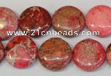 CDI655 15.5 inches 16mm flat round dyed imperial jasper beads