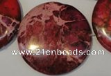 CDI660 15.5 inches 35mm flat round dyed imperial jasper beads