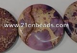 CDI708 15.5 inches 35mm flat round dyed imperial jasper beads