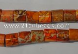 CDI737 15.5 inches 8*8mm tube dyed imperial jasper beads